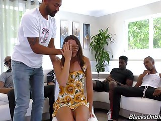 Interracial gangbang surprise for sluttishly looking white chick Avi Love