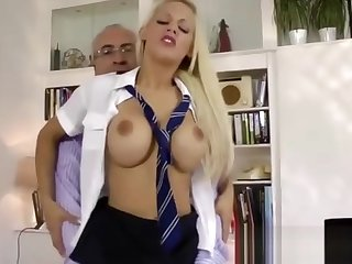 Lucky older man fucks blonde babe in schoolgirl costume