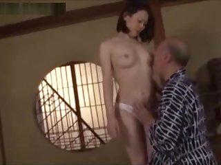 Japanese girls gets belly button licked by old man.