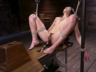 Tied up model Avi Love gets her pussy punished with crazy fucking machine
