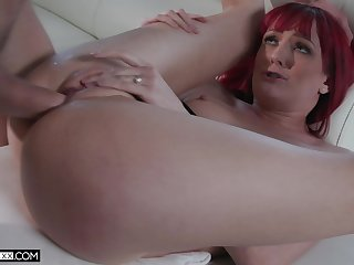 Redhead loads pussy with a lot of angry cock