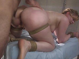 Tied up blonde Dresden gets her pussy penetrated deep by her lover