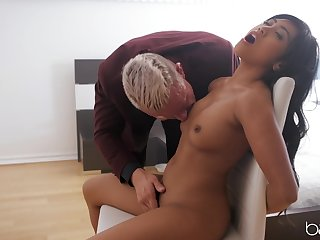 Asian with tiny tits, first time sex play with an older man
