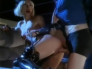 classic babe in pvc and thigh high boots gets fucked