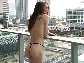 Skinny nude girl on the balcony Jessae Rosae