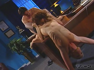 Hot Missy & Jacklyn Lick fucked together in the office by their boss
