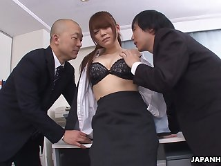 Kinky boss and his business partner fuck pretty secretary Mari Motoyama