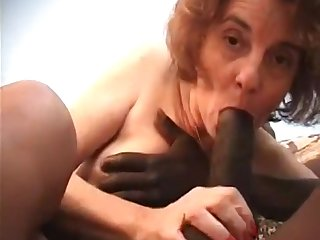 Nasty GILF interracial porn video