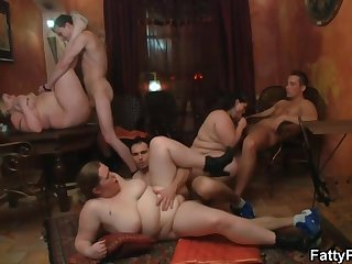 Chubby babe is getting nailed during a private orgy and enjoying every single second of it
