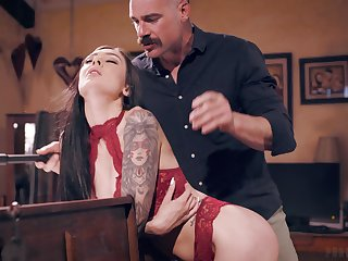 Older gent gets the best of young brunette beauty Marley Brinx