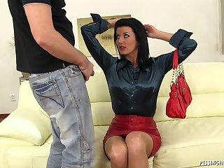 Quickie fucking on the leather sofa with mature slut Celine Noiret