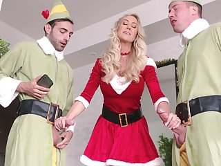 Brandi Love looks so hot when celebrating Christmas with a hot threeway