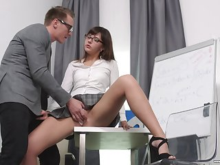 Secretary Katty Blessed drops on her knees to please her boss