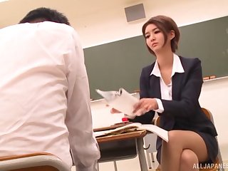Hardcore fucking on the floor after a class with Aso Nozomi