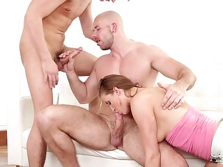 MMF threesome with a bisexual boyfriend and slutty Victoria Daniels