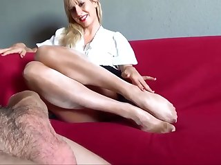 Strumpfhosen footjob pantyhose footjob Foot