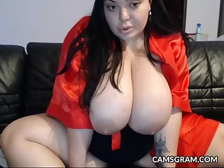 Stunning Huge Knockers Fat Plays With Her Arousing Body