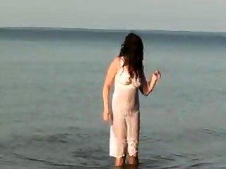 My Pantyhose Girlfriend See Through on the Beach
